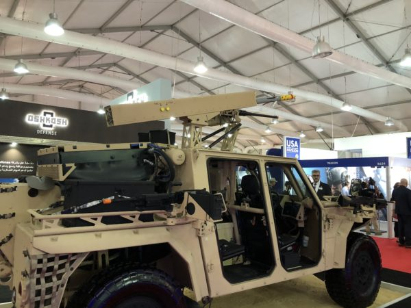 Arnold-Defense-FLETCHER-laser-guided-rocket-launcher-fitted-to-an-Oshkosh-S-ATV-at-SOFEX-18